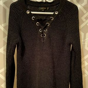 Black lace front sweater